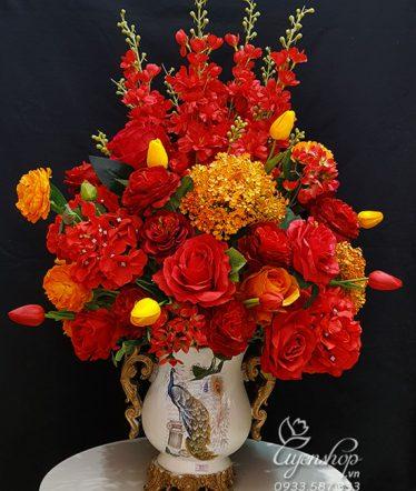 Hoa lụa, hoa giả Uyên shop, Màu Đỏ May Mắn