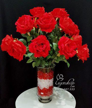 Hoa lụa, hoa giả Uyên shop, Bình Hồng Đỏ Ecuador