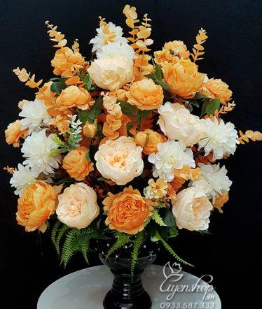 Hoa lụa, hoa giả Uyên shop, Hoa Lụa – Hoa Mẫu Đơn