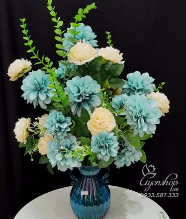 Hoa lụa, hoa giả Uyên shop, Bình Hoa Thược Dược Pháp