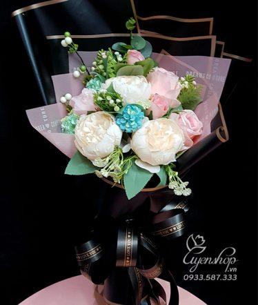 Hoa lụa, hoa giả Uyên shop, Bó Hoa Tú Cầu, Hồng Trà