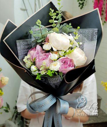 Hoa lụa, hoa giả Uyên shop, Bó Hoa Trà Xinh