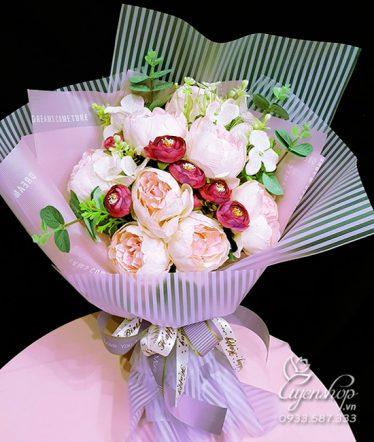 Hoa lụa, hoa giả Uyên shop, Bó Hoa Hồng Trà