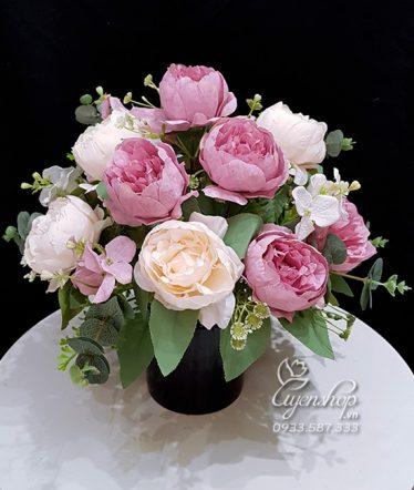 Hoa lụa, hoa giả Uyên shop, Hoa Để Bàn Hoa Trà