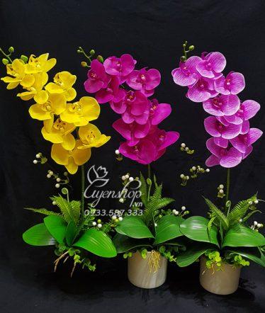 Hoa lụa, hoa giả Uyên shop, Chậu Lan Nhỏ Xinh