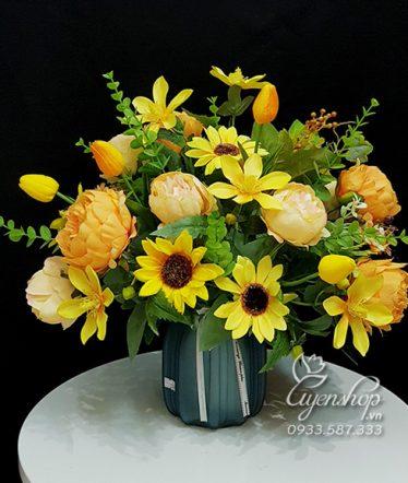 Hoa lụa, hoa giả Uyên shop, Sắc Vàng Tươi Trẻ