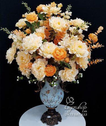 Hoa lụa, hoa giả Uyên shop, Bình Hoa Mẫu Đơn Phú Quý