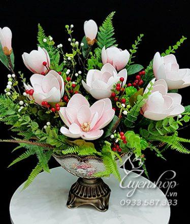 Hoa lụa, hoa giả Uyên shop, Bình Hoa Mộc Lan