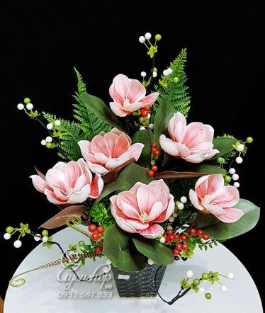 Hoa lụa, hoa giả Uyên shop, Bình Mộc Lan Hồng