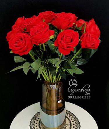 Hoa lụa, hoa giả Uyên shop, Hoa Lụa – Hồng Nhung Đỏ