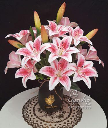 Hoa lụa, hoa giả Uyên shop, Hoa Lụa – Bình Hoa Ly Hồng