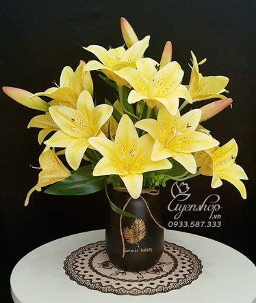 Hoa lụa, hoa giả Uyên shop, Bình Ly Vàng Cao Cấp
