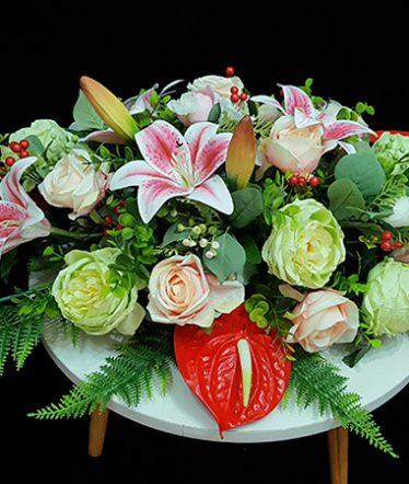 Hoa lụa, hoa giả Uyên shop, Hoa Bàn Họp To – Hoa Lụa