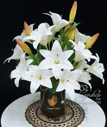 Hoa lụa, hoa giả Uyên shop, Bình Ly Trắng Đẹp