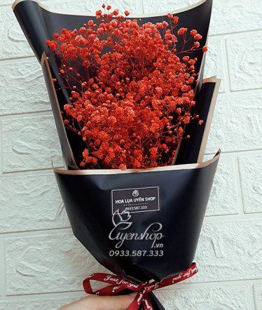 Hoa lụa, hoa giả Uyên shop, Bó BaBy Đỏ xinh