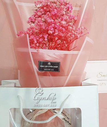 Hoa lụa, hoa giả Uyên shop, Bó Hoa BaBy Hồng Nhỏ