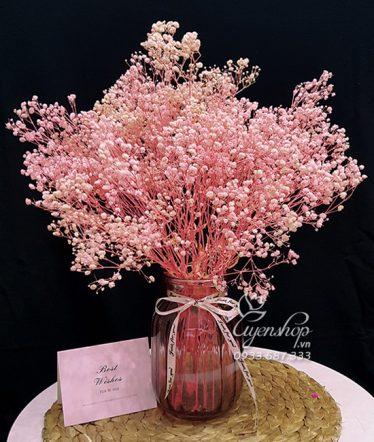 Hoa lụa, hoa giả Uyên shop, Hoa BaBy Hồng Pastel